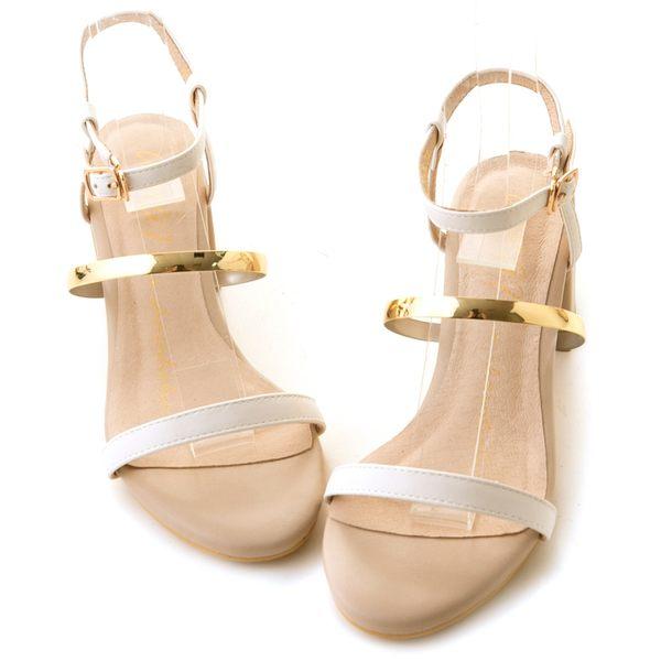 amai極細一字軟金屬繫帶涼鞋 白