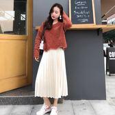 秋冬毛衣兩件式裝女日韓時尚寬鬆打底中長款百褶金絲絨套裝裙 優樂居