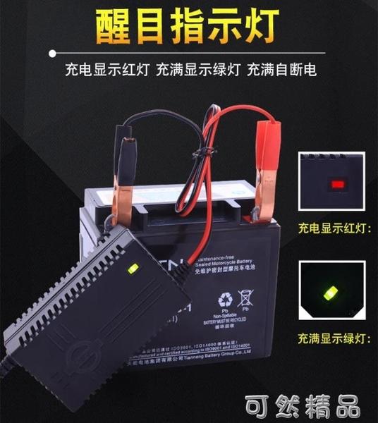 智慧12V踏板摩托車電瓶充電器12/20AH蓄電池修復充電機干水通用型