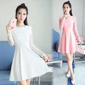 洋裝禮服春季新款女裝蕾絲連身裙韓版顯瘦長袖白色打底裙修身夏款【七七特惠全館七八折】