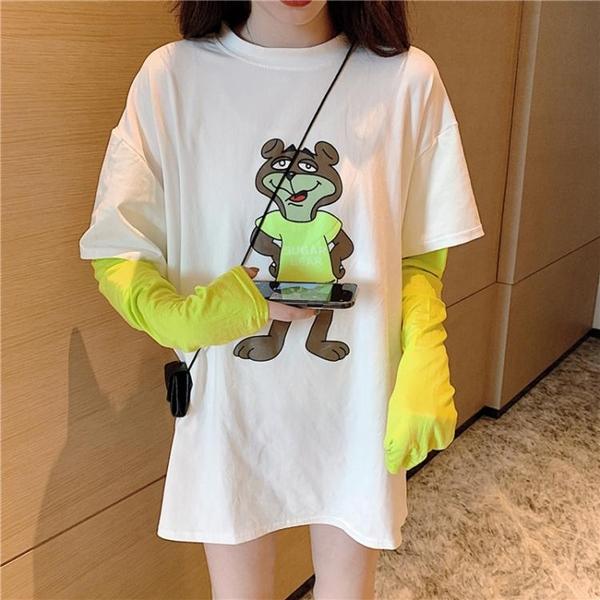 假兩件T恤2020秋季卡通小熊印花寬鬆上衣拼接假兩件中長款長袖T恤春季新品