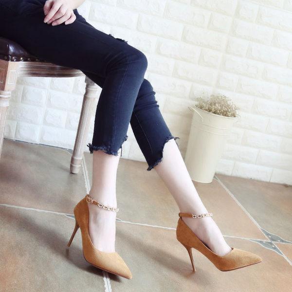 秋季細跟高跟鞋 女淺口絨面尖頭鞋【多多鞋包店】z2913