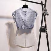 無袖雪紡上衣立領襯衫2018新款蕾絲花邊拼接無袖雪紡衫上衣女韓版襯衣外穿 法布蕾輕時尚