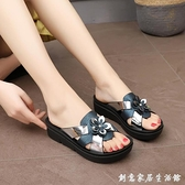 涼拖鞋女2020新款夏季防滑涼拖時尚百搭鞋托坡跟厚底松糕外穿拖鞋