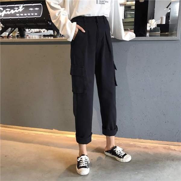 cargo工裝褲女春秋2019新款韓版學生顯瘦高腰寬鬆bf直筒白色褲子 米娜小鋪