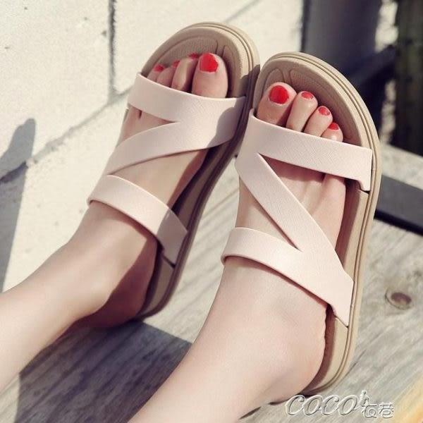 拖鞋 女士一字拖夏季涼拖鞋學生拖鞋沙灘鞋厚底防滑涼鞋細帶女拖鞋外穿    coco衣巷
