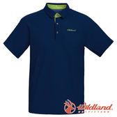 【wildland 荒野】男 涼感POLO本布領短袖上衣『深藍』0A71608 T恤 POLO衫 上衣 男版 短袖 排汗 休閒