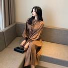 VK精品服飾 韓國風名媛碎花百褶燈籠袖收腰優雅短袖洋裝