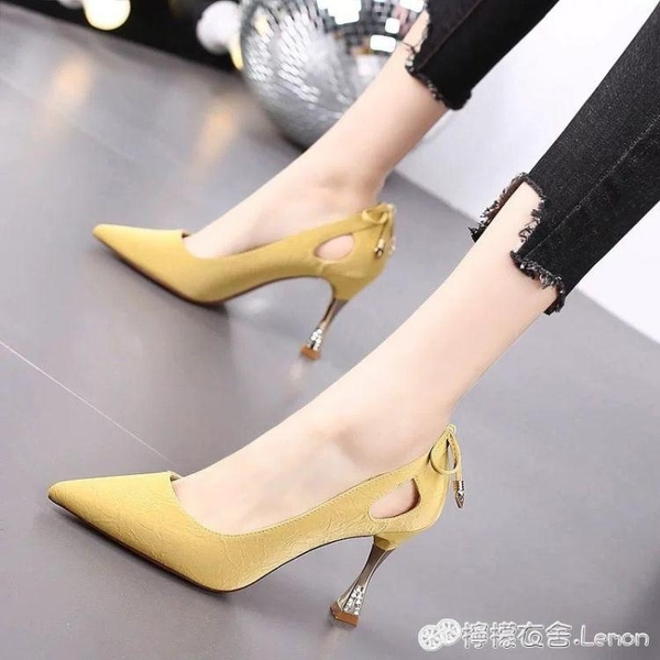 舒適軟皮鞋細跟中跟單鞋工裝鞋職業空姐鞋工作鞋女黑色正裝高跟鞋