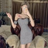 網紅主播連衣裙2020新款夏氣質復古格子性感一字肩抹胸洋裝小禮服 伊羅 新品
