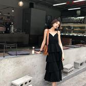 裝女中長款V領連身裙鬆緊腰純色吊帶蛋糕裙