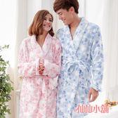 情侶款睡袍 男女通用 愛心柔軟珊瑚絨綁帶睡袍 浴袍 居家睡衣 仙仙小舖