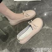 護士鞋2021年新款夏季平底蝴蝶結牛筋軟底工作鞋單鞋透氣豆豆鞋護士鞋女 新品嬡孕哺 618購物