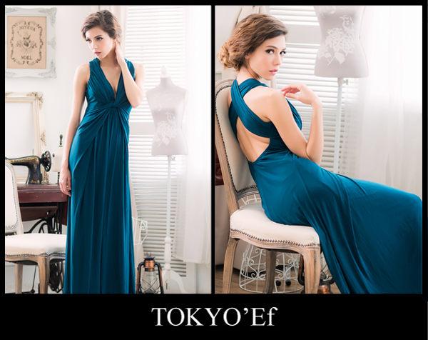東京衣服 英倫情懷 深V抓皺扭結 女神輪廓 美背交叉長禮服 深藍綠
