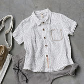 男童有型棉質短袖花紋襯衫 短袖上衣 橘魔法Baby magic 現貨 兒童 童裝