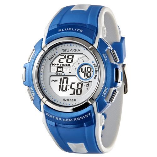 JAGA捷卡M688多功能防水運動電子錶-藍色/灰橘/白紅/黑