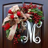 CY潮流裝飾品CY潮流美式花環門掛裝飾創意聖誕仿真花環壁掛裝飾藤條布置裝飾品  CY潮流