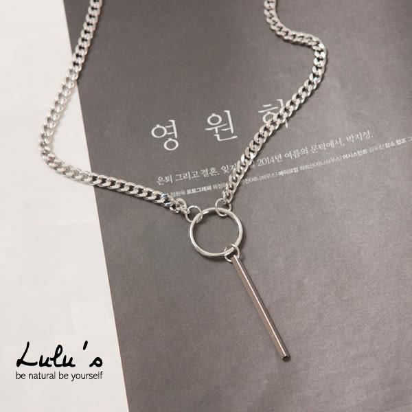 LULUS-N韓製-圈圈垂墜直條項鍊-銀  現+預【08030184】
