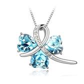 水晶項鍊+925純銀吊墜-幸福設計白色情人節生日禮物女飾品8色73bb189【時尚巴黎】