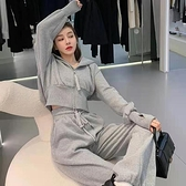 韓版學生寬鬆顯瘦運動套裝女春秋大碼時尚衛衣休閒兩件套跑步服潮 幸福第一站