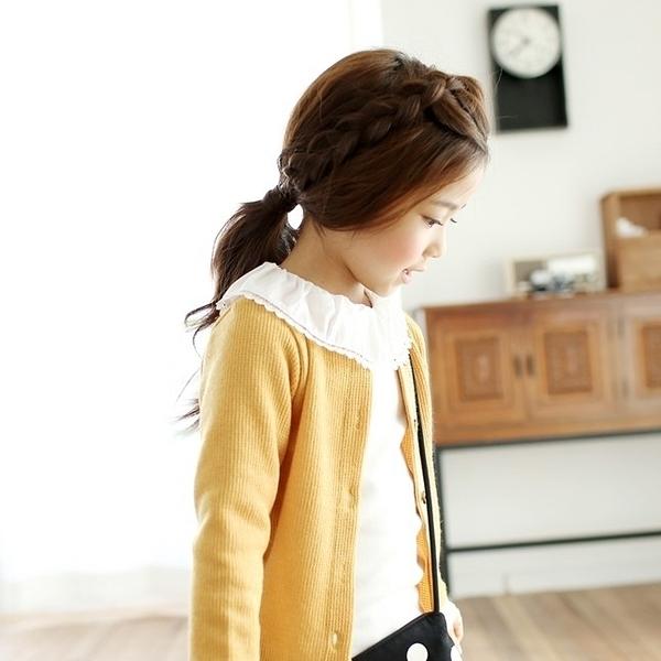 韓國童裝 SEWING-B 蕾絲荷葉領米白長袖上衣 Lace Ruffle Tee