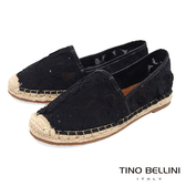Tino Bellini 雙層織網亮片叢花平底麻編休閒鞋_ 黑 F83017