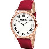 Folli Follie PERFECT MATCH 經典羅馬腕錶-銀x紅皮帶/39mm WF16R014SPS-DR