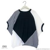 【INI】率性風格、連袖剪裁拼接設計上衣.黑色
