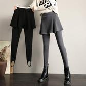 秋冬季外穿大碼打底褲女加絨加厚假兩件裙褲踩腳百摺帶裙子連褲裙 韓國時尚週
