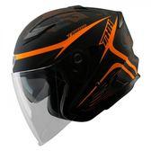 【東門城】THH T560S 迷彩線條 平光黑/螢光橘 快拆式鏡片 雙D扣 內襯全可拆洗 四分之三罩安全帽