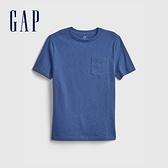Gap男童 基本款素色短袖T恤 689212-藍色