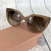 BRAND楓月 PRADA 普拉達 奶茶色 蕾絲紋路 粗邊框 貓眼 墨鏡 太陽眼鏡 遮陽 時尚配件