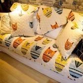可訂製米色紙老虎北歐個性卡通全棉布藝沙發墊防滑 優一居