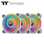 【Thermaltake 曜越】Riing Quad 12CM RGB 水冷排熱風扇(三顆包)-白色