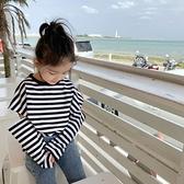 黑白條紋個性露臂薄長袖上衣 薄長袖 長袖 上衣 女童 橘魔法 現貨 兒童 童裝
