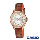 CASIO卡西歐 氣質簡約施華洛世奇皮革女腕錶-咖啡x28mm  SHE-4050PGL-7A