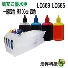 【長版空匣含晶片+100cc寫真墨水】Brother LC669+LC665 可填充式墨水匣 適用於MFC-J2320、MFC-J2720
