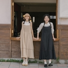 Queen Shop【01085259】前壓褶造型蕾絲剪接設計吊帶洋裝 兩色售*現+預*