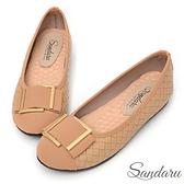 娃娃鞋 金飾編織皮革軟底平底鞋-杏