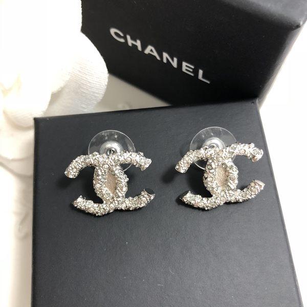 CHANEL香奈兒 全新真品 雙C水鑽 鑲崁耳環 (針式/銀色)~現貨