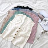 背心外套/韓版復古V領單排扣麻花紋開衫針織馬甲背心打底衫