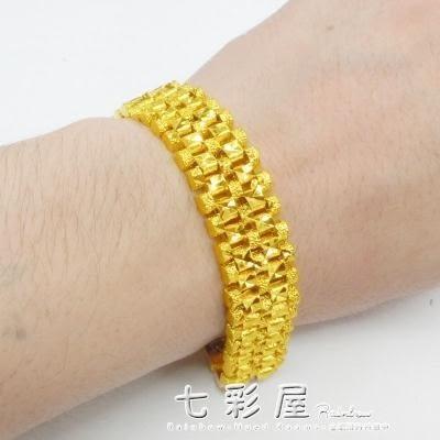 歐幣金飾品霸氣男士手鍊寬鍍黃金手錶鍊久不褪色沙金首飾禮物 檸檬衣舍