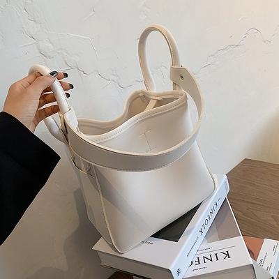 簡約女士包包流行新款潮時尚百搭單肩包腋下包網紅手拎水桶包【全館免運】