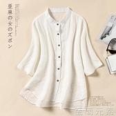 白色棉麻襯衫女中袖顯瘦寬鬆上衣夏季新款大碼女裝亞麻襯衣薄