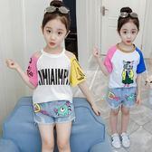 女童套裝夏裝女寶寶洋氣套裝時髦童裝潮衣中大童兩件式