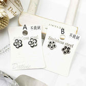 【KP】韓國 不鏽鋼 花圖型 閃耀單鑽 甜美風 銀色 黑色 2色 後轉式耳環 EA01632