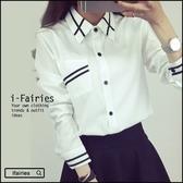 ~長袖襯衫寬鬆條紋襯衫上衣~ifairies ~31697 ~