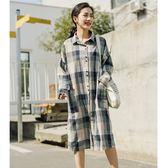 休閒格紋長版襯衫洋裝【88-22-8303-1163-18】ibella 艾貝拉