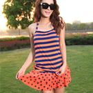【8300】條紋蛋糕裙二件式比基尼 泳裝/泳衣  3色 (M/L/XL)