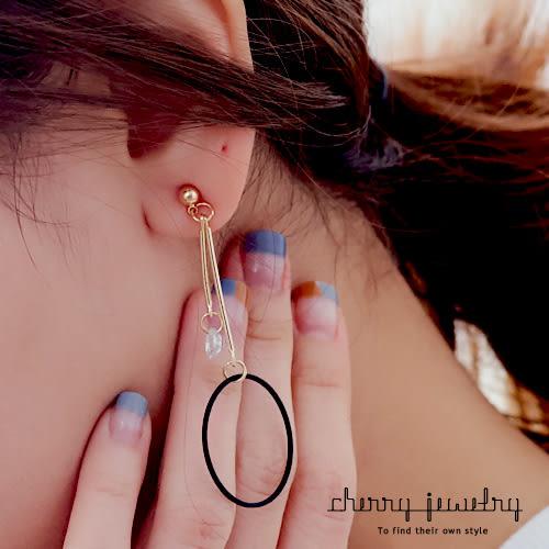 圓環流蘇不對稱耳環 【櫻桃飾品】【10566 】